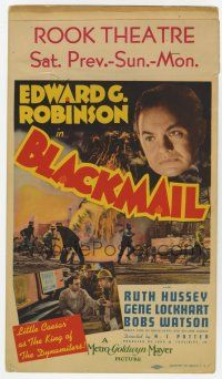 9d003 BLACKMAIL mini WC '39 Little Caesar Edward G. Robinson as The King of The Dynamiters!