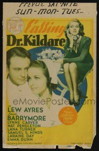 9d006 CALLING DR. KILDARE mini WC '39 Lew Ayres, Laraine Day & sexy Lana Turner with phone!