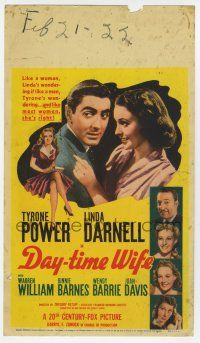 9d008 DAY-TIME WIFE mini WC '39 youngest leading lady 15 year-old Linda Darnell & Tyrone Power!
