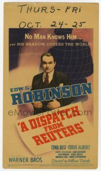 9d010 DISPATCH FROM REUTERS mini WC '40 Edward G. Robinson's shadow covers the entire world!