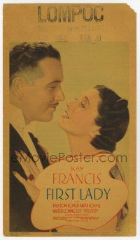 9d012 FIRST LADY mini WC '37 beautiful Kay Francis wants husband Preston Foster to be President!