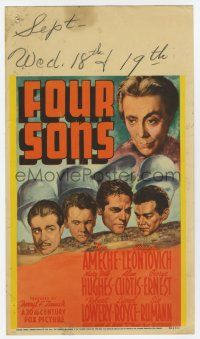 9d014 FOUR SONS mini WC '40 Don Ameche & his Czecho-German brothers & mom in World War II!