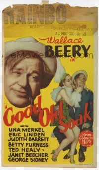 9d018 GOOD OLD SOAK mini WC '37 Wallace Beery, sexy showgirl Betty Furness, Ted Healy billed!