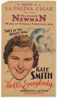 9d019 HELLO EVERYBODY mini WC '32 singer Kate Smith is in the movies now, written by Fanny Hurst!