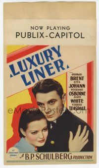 9d024 LUXURY LINER mini WC '33 c/u of George Brent holding scared Zita Johann on 1933 Love Boat!