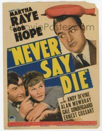 9d025 NEVER SAY DIE mini WC '39 romantic love triangle with Bob Hope, Martha Raye & Andy Devine!