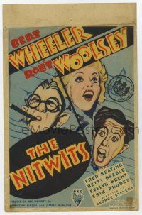 9d026 NITWITS mini WC '35 great art of Wheeler & Woolsey, pretty young Betty Grable shown!