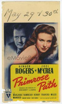 9d030 PRIMROSE PATH mini WC '40 Joel McCrea marries Ginger Rogers & learns of her trampy past!