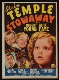 9d031 STOWAWAY mini WC '36 great image of adorable Shirley Temple, Alice Faye & Robert Young!