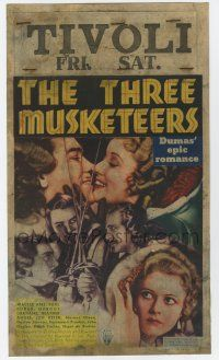 9d033 THREE MUSKETEERS mini WC '35 cool art of Walter Abel & Paul Lukas in Dumas' epic romance!