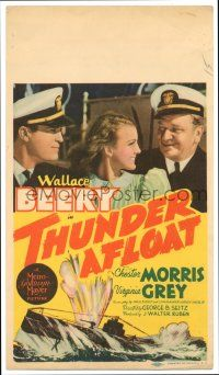 9d034 THUNDER AFLOAT mini WC '39 art of sailors Wallace Beery & Chester Morris, Virginia Grey!
