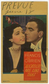 9d035 WOMEN ARE LIKE THAT mini WC '38 c/u of Pat O'Brien about to kiss pretty Kay Francis' cheek!