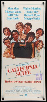 9g164 CALIFORNIA SUITE Aust daybill '78 Alan Alda, Michael Caine, Fonda, all-star cast Drew art!