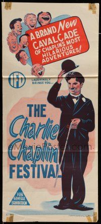 9g170 CHARLIE CHAPLIN FESTIVAL Aust daybill '57 great images of the legendary actor, comedy shorts