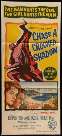 9g171 CHASE A CROOKED SHADOW Aust daybill '58 Anne Baxter, Richard Todd, cool art!