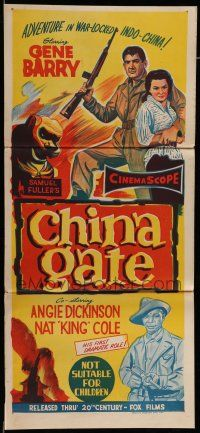 9g173 CHINA GATE Aust daybill '57 Samuel Fuller, Angie Dickinson, Gene Barry, Nat King Cole!