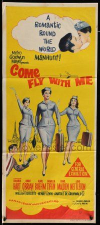 9g175 COME FLY WITH ME Aust daybill '63 Dolores Hart, Hugh O'Brian, Boehm, Tiffin, Malden!