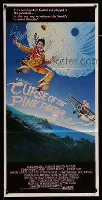 9g178 CURSE OF THE PINK PANTHER Aust daybill '83 David Niven, wacky artwork of parachute!