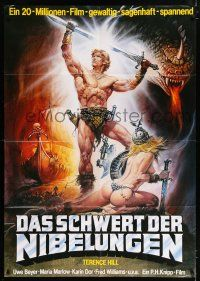 9g347 DAS SCHWERT DER NIBELUNGEN German 33x47 '66 cool sword & sorcery artwork by Renato Casaro!