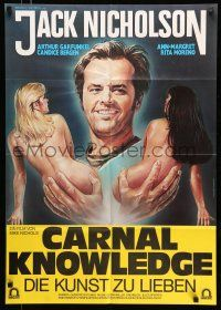 9g434 CARNAL KNOWLEDGE German '71 completely different Morf art of Jack Nicholson w/naked women!