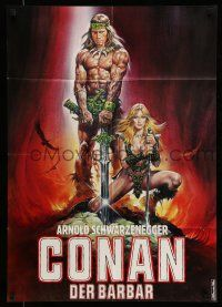 9g444 CONAN THE BARBARIAN teaser German '82 Casaro art of Schwarzenegger & sexy Sandahl Bergman!
