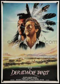 9g454 DANCES WITH WOLVES German '91 great Casaro art of Kevin Costner & Graham Greene!