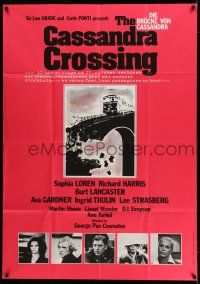 9g334 CASSANDRA CROSSING German 36x50 '77 Sophia Loren, Richard Harris, cool quarantined train art!