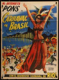 9g010 CARNAVAL ATLANTIDA Mexican poster '52 art of sexy Brazilian girl in Rio carnival outfit