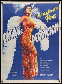 9g011 CASA DE PERDICION Mexican poster '56 sexy Maria Antonieta Pons in see-through pepper dress!