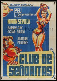9g012 CLUB DE SENORITAS export Mexican poster '56 Jeba Pucitef art of sexy woman with boxing gloves!