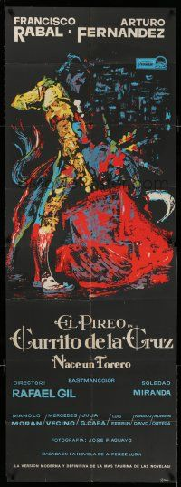9g001 CURRITO OF THE CROSS Spanish 27x54 '65 cool colorful E. Medrano silkscreen art of matador!