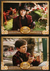 9g746 CHARLIE & THE CHOCOLATE FACTORY 8 German LCs '05 Johnny Depp, directed by Tim Burton!