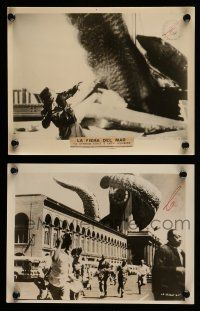 9s957 IT CAME FROM BENEATH THE SEA 2 8x10 stills '55 Harryhausen, both with monster scenes!