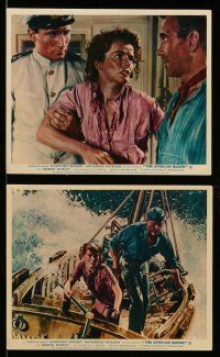 9s084 AFRICAN QUEEN 6 color English FOH LCs R60s John Huston's classic, images of Hepburn & Bogart!