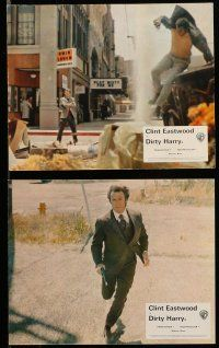 9s075 DIRTY HARRY 7 color English FOH LCs '71 great images of Clint Eastwood, Don Siegel classic!