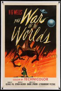 9y251 WAR OF THE WORLDS linen 1sh '53 H.G. Wells & George Pal classic, wonderful alien hand art!