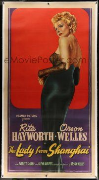 9z021 LADY FROM SHANGHAI linen 3sh '47 incredible full art of sexy blonde Rita Hayworth, very rare!