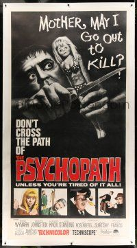 9z027 PSYCHOPATH linen 3sh 66 Robert Bloch wild horror image Mother may I go out to kill