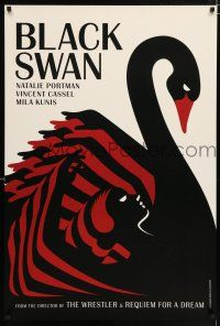 1b087 BLACK SWAN teaser DS English 1sh '10 cool merged swan and dancer deco La Boca art!