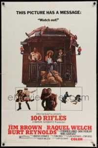 1f002 100 RIFLES style A 1sh '69 Jim Brown, Raquel Welch & Burt Reynolds!