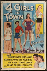 1f006 4 GIRLS IN TOWN 1sh '56 sexy Julie Adams, Marianne Cook, Elsa Martinelli & Gia Scala!