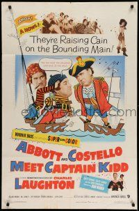 1f008 ABBOTT & COSTELLO MEET CAPTAIN KIDD 1sh '53 art of pirates Bud & Lou with Charles Laughton!