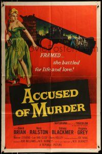 1f010 ACCUSED OF MURDER 1sh '57 cool sexy girl and gun noir image, she battled for life & love!