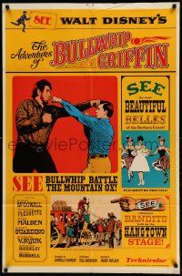 1f011 ADVENTURES OF BULLWHIP GRIFFIN style A 1sh '66 Disney, beautiful belles, mountain ox battle!