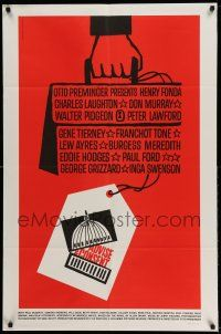 1f012 ADVISE & CONSENT 1sh '62 Otto Preminger, classic Saul Bass Washington Capitol artwork!