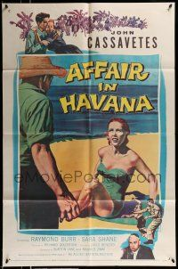 1f013 AFFAIR IN HAVANA 1sh '57 John Cassavetes in Cuba, art of Sara Shane in swimsuit on beach!