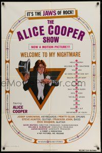 1f019 ALICE COOPER: WELCOME TO MY NIGHTMARE 1sh '75 it's the JAWS of rock, art of Alice Cooper!