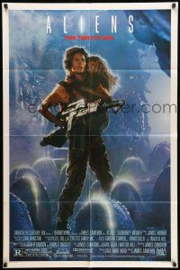 1f021 ALIENS 1sh '86 James Cameron, Sigourney Weaver as Ripley holding Carrie Henn!