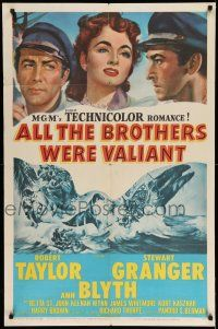 1f023 ALL THE BROTHERS WERE VALIANT 1sh '53 Robert Taylor, Stewart Granger, whaling artwork!