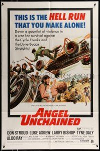 1f027 ANGEL UNCHAINED 1sh '70 AIP, bikers & hippies, this is the hell run that you make alone!